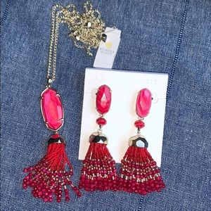 Kendra Scott Red MOP Eva Necklace & Dove Earrings